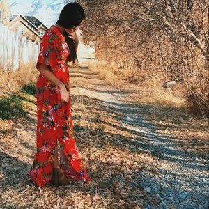 Red floral maxi dress- NEW